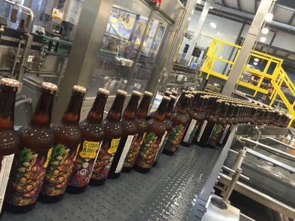 Corn King IPA on the 3 Floyds bottling line
