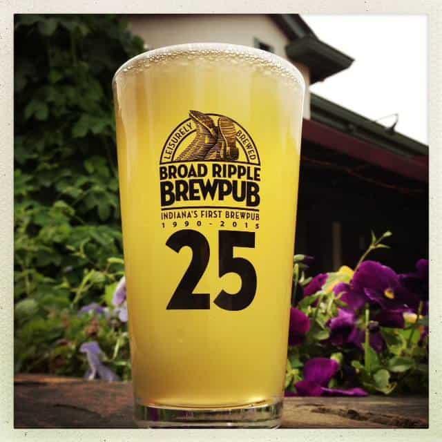 Broad Ripple Brewpub 25th Anniversary pint glass