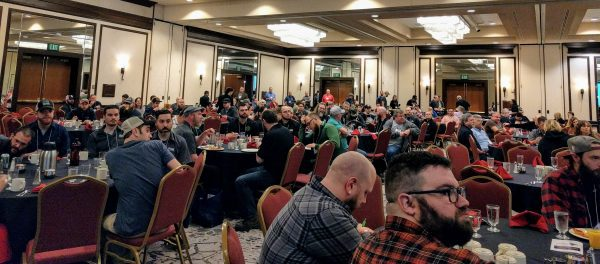 Breweries gather for the 2017 INCBC welcome breakfast.
