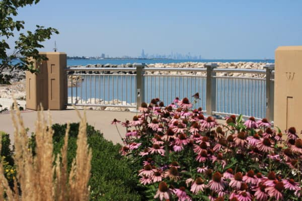 Whiting Lakefront Park with Chicago skyline