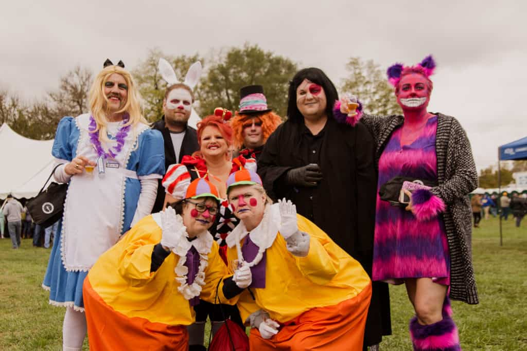 2018 Broad Ripple Beer Festival attendees dressed up in coordinated group costumes from Alice in Wonderland